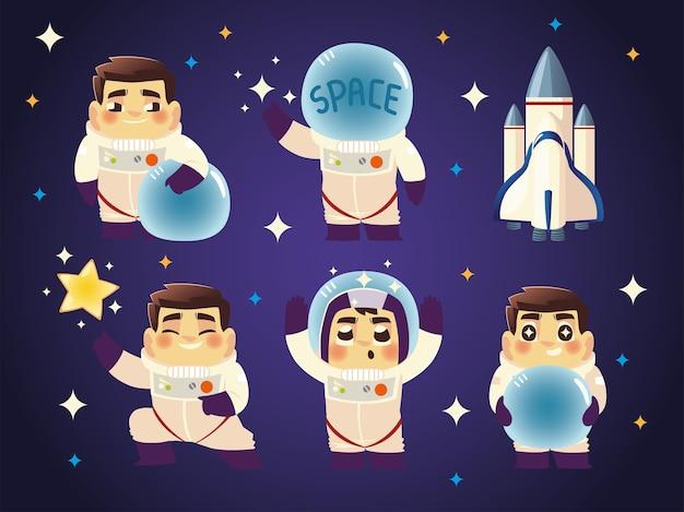 Zestaw astronautów w różnych pozach w przestrzeni i ilustracji statku kosmicznego