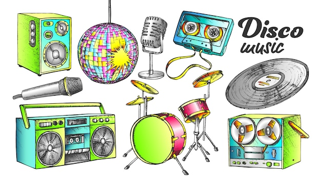 Zestaw atramentów kolorowe elementy muzyki disco