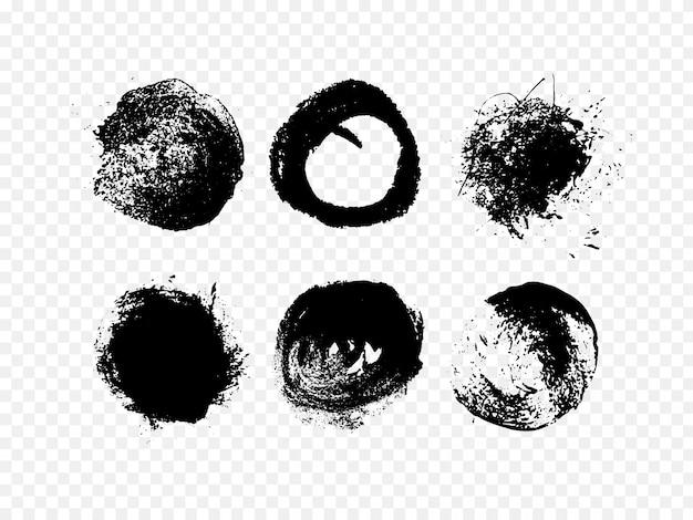 Zestaw atramentu streszczenie. ręcznie rysowane nieczysty czarne koło.