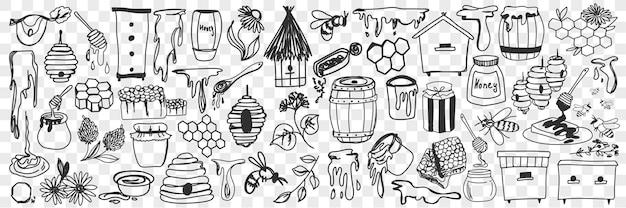 Zestaw atrybutów i narzędzi pszczelarskich. kolekcja ręcznie rysowane miód, ula, pszczoły, beczki i narzędzia do prac pasieki w gospodarstwie na białym tle.