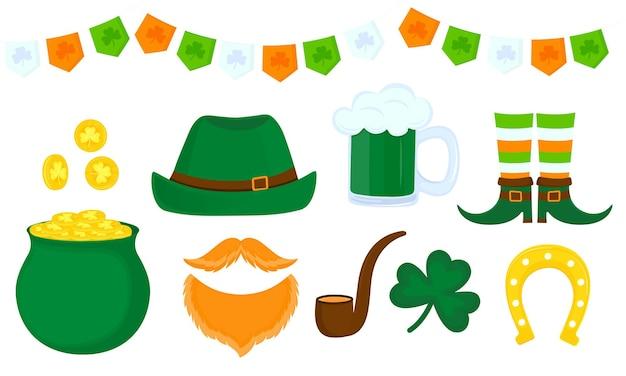 Zestaw atrybutów irlandzkich obchodów dnia świętego patryka.