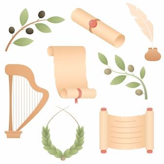Zestaw atrybutów starożytnego rzymu: kilka zwojów, harfa, gałązka oliwna, wieniec laurowy, pióro do pisania.