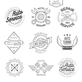 Zestaw auto service, naprawy i auto tuning logo na białym tle