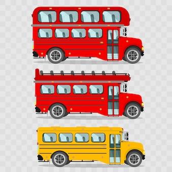 Zestaw autobusów. czerwony piętrowy autobus, czerwony piętrowy autobus bez dachu, żółty autobus szkolny, londyńskie autobusy.