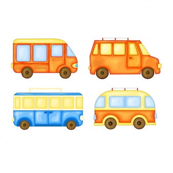 Zestaw autobusów do podróży w uroczym stylu cartoon. ilustracja wektorowa na białym tle