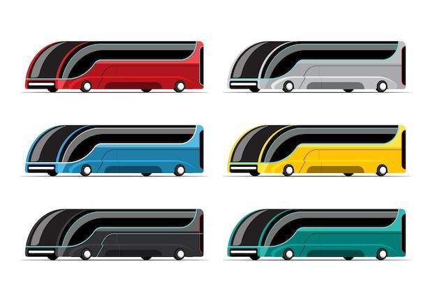 Zestaw autobusu hi-tech w nowoczesnym stylu na białym tle