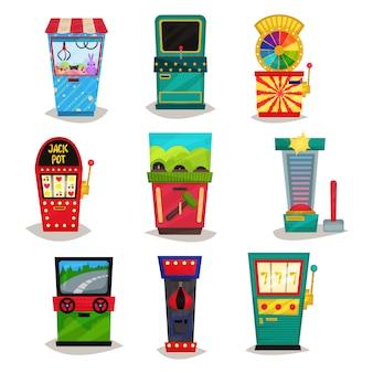 Zestaw automatów do gier retro, żuraw pazurowy, tester wytrzymałości, symulator samochodowy, koło fortuny, boks ilustracja na białym tle