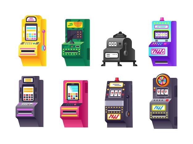 Zestaw automatów izometrycznych. nowoczesne urządzenie do gier hazardowych na pieniądze i wygrywanie nagród. zabawny zbieg okoliczności bingo jackpot z ekranem, przyciskami i joystickiem. gra zręcznościowa grająca kreskówka wektor