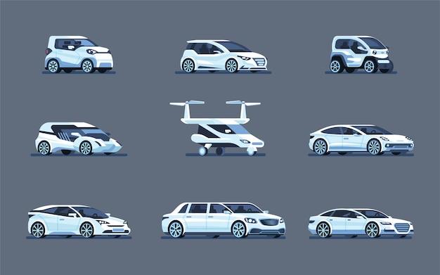 Zestaw autonomicznych samochodów na szarym tle