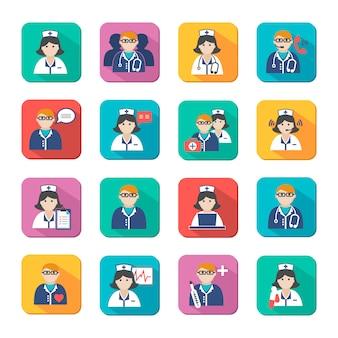 Zestaw avatar lekarzy i pielęgniarek