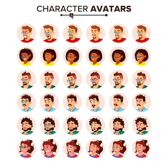 Zestaw avatar ludzi. mężczyzna, kobieta.