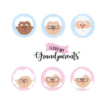 Zestaw awatar dziadkowie głowa z fryzurą