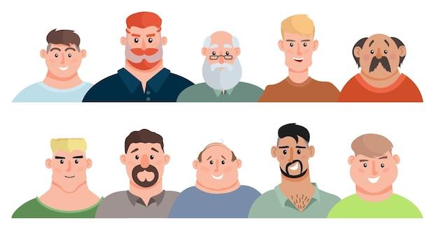 Zestaw awatarów dla dorosłych mężczyzn. młodzi mężczyźni, nastolatki, starsi mężczyźni. portrety awatarów twarzy, wielokulturowe portrety ludzkich głów.