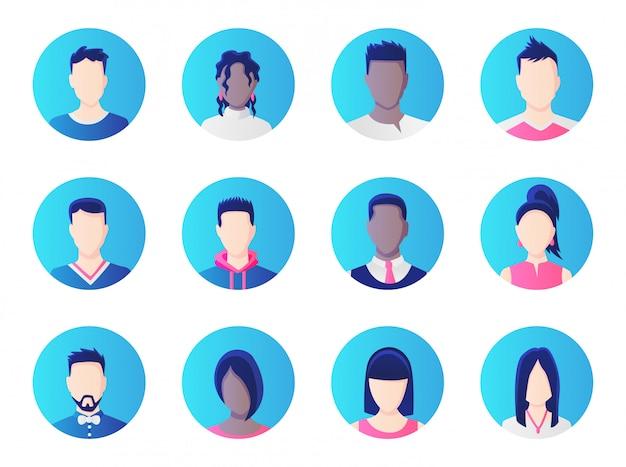 Zestaw awatarów. grupa różnorodności ludzi pracy, różnorodne ikony awatarów mężczyzn i kobiet.