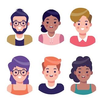 Zestaw awatarów ilustrowanych ludzi