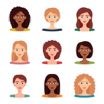 Zestaw awatarów kobiet z różnymi fryzurami i kolorami. różnorodność grupy młodych kobiet, ilustracji wektorowych