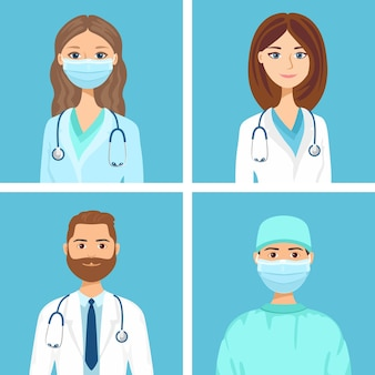 Zestaw awatarów lekarzy i pracowników medycznych.