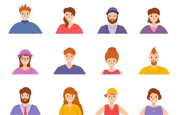 Zestaw awatarów ludzi. portrety kobiet i mężczyzn. kolekcja różnych postaci mężczyzn i kobiet. portret człowieka lub twarz młodego mężczyzny z różnymi fryzurami. uśmiechnięci szczęśliwi ludzie. szczęśliwe emocje. .