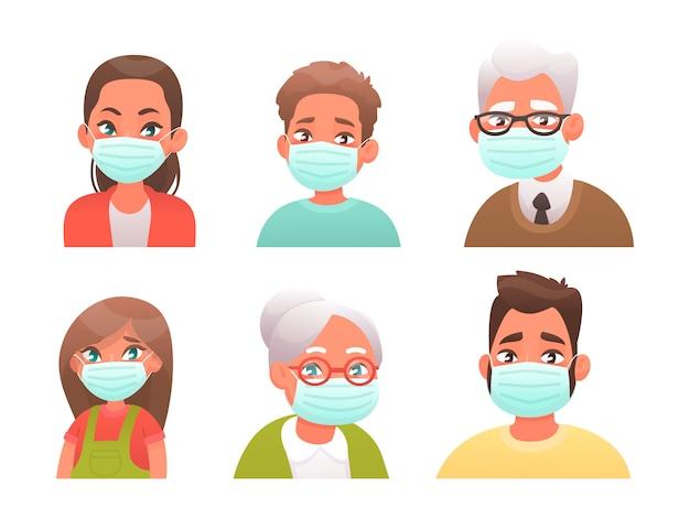 Zestaw awatarów ludzi w ochronnych maskach medycznych. chłopiec, dziewczynka, mężczyzna, kobieta, dziadek i babcia są chronieni przed wirusem