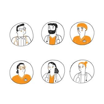 Zestaw awatarów medycznych. personel kliniki doodle awatary.