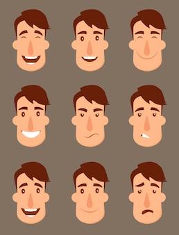 Zestaw awatarów. męskie postacie. ludzie twarzy, mężczyzna, chłopiec, osoba,