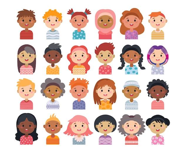 Zestaw awatarów postaci dziecięcych