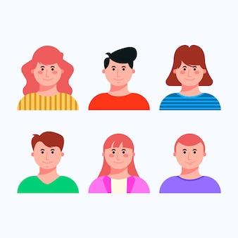 Zestaw awatarów różnych ludzi