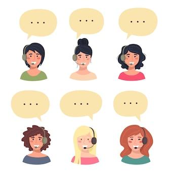 Zestaw awatarów ślicznych szczęśliwych młodych kobiet, operatora telefonicznego obsługi klienta.