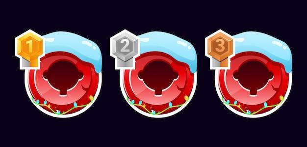 Zestaw awatarów świątecznych z zaokrągloną ramką gui z oceną elementów zasobów interfejsu gry