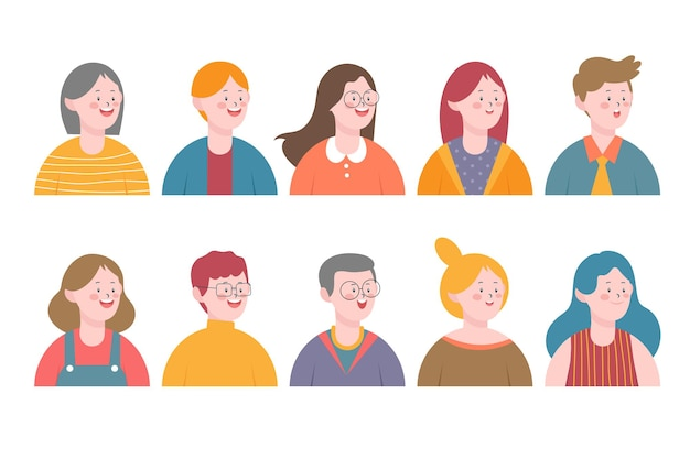 Zestaw awatarów uśmiechniętych ludzi. kolekcja różnych postaci mężczyzn i kobiet.