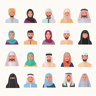 Zestaw awatarów wschodnich znaków muzułmańskich. uśmiechnięte arabskie twarze mężczyzn, kobiet w czadorze i burce modnych kolorowych hidżabach