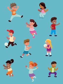 Zestaw awatarów z kreskówek dla dzieci cartoon