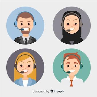 Zestaw awatarów z płaskim call center