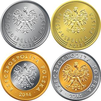 Zestaw awersu moneta polska złotówka