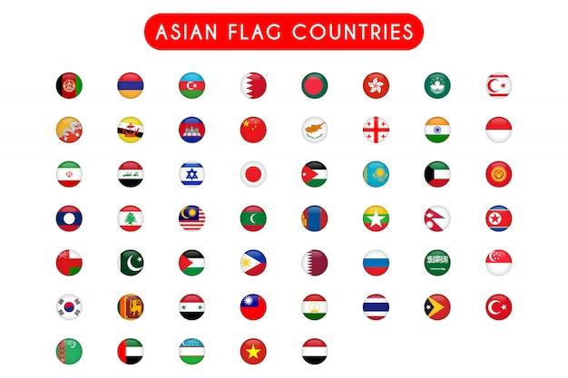 Zestaw azjatyckich flag krajów rundy