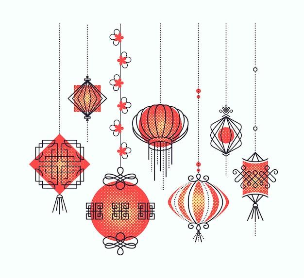 Zestaw azjatyckich lampionów ulicznych i świątecznych, dekoracje chińskiej kultury. obiekty monoliniowe i półtonowe