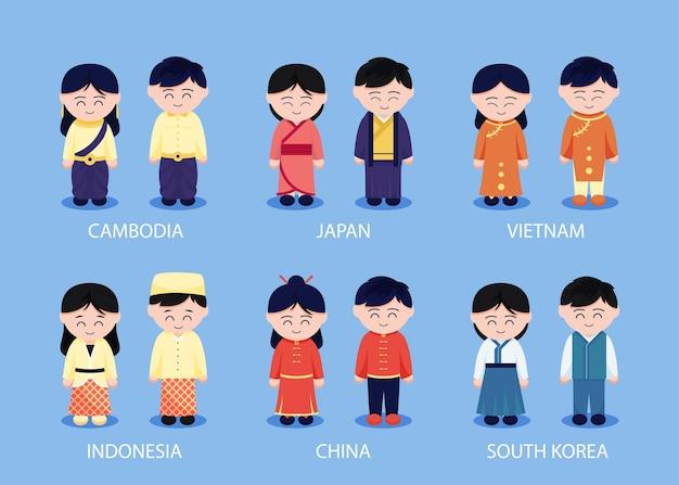Zestaw azjatyckich ludzi regionalnych z odzieżą w postaci z kreskówek, na białym tle płaska ilustracja