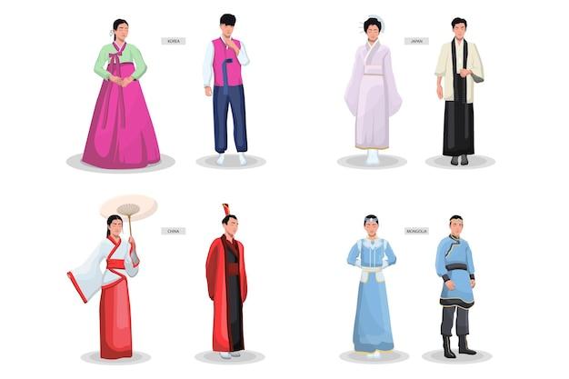 Zestaw azjatyckich tradycyjnych strojów. starożytne kimona damskie, męskie ubrania, japoński, chiński, wietnamski, koreański strój narodowy