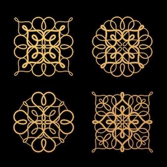Zestaw ażurowych abstrakcyjnych elementów.