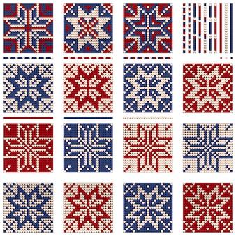 Zestaw babci noworocznych wzorów dzianinowych na boże narodzenie brzydkiego sweter, rbw