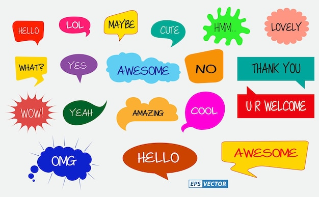 Zestaw bąbelków w stylu komiksowym lub pytania bąbelek kolorowy lub zabawny bąbelkowy mówiący w doodle