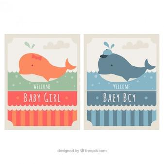 Zestaw baby cards prysznicowych z pięknym wielorybów
