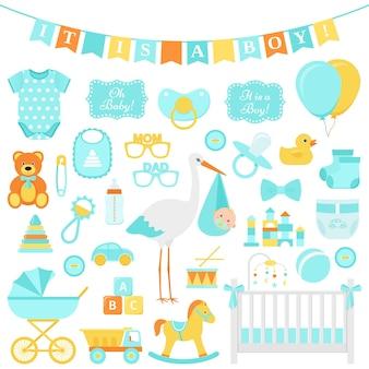 Zestaw baby shower dla chłopca. ilustracja wektorowa. niebieskie elementy na imprezę.