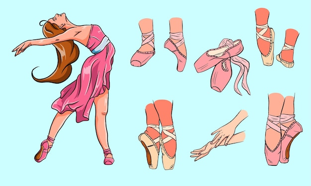 Zestaw baletowy. baleriny i pointy. baleriny w butach baletowych. ramiona. styl kreskówki.