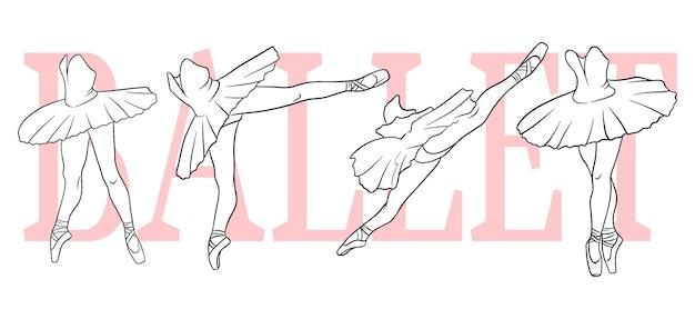 Zestaw baletowy. baleriny w pointe butach i tutu. nogi tancerza. grafika liniowa. ilustracja wektorowa do projektowania i dekoracji.