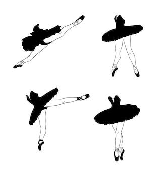 Zestaw baletowy. baleriny w pointe butach i tutu. nogi tancerza. sylwetka. ilustracja wektorowa do projektowania i dekoracji.