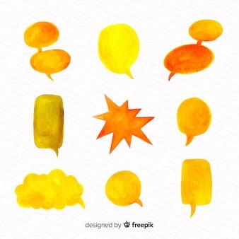 Zestaw balonów mowy akwarela o różnych kształtach