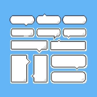 Zestaw balonów mowy kreskówka piksel. 8 bitów.
