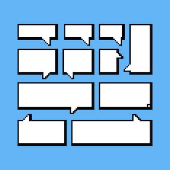 Zestaw balonów mowy pixel. 8 bitowy.