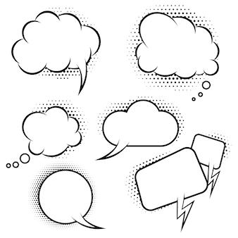 Zestaw balonów mowy w stylu komiksu. elementy plakatu, banera, karty. ilustracja